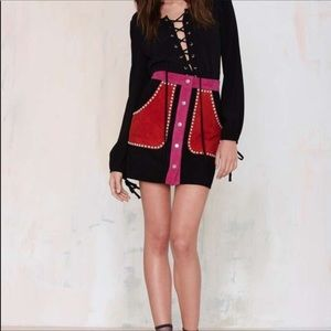 Nasty Gal color block leather suede mini skirt M